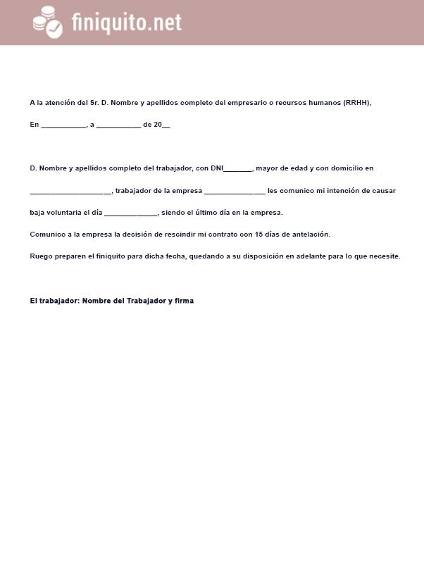 modelo carta despido voluntario imagen