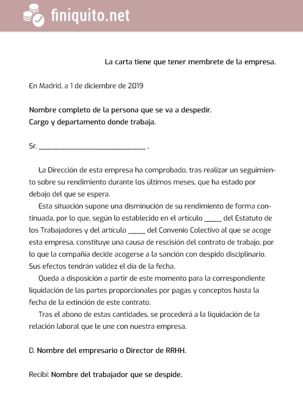 modelo carta despido disciplinario imagen